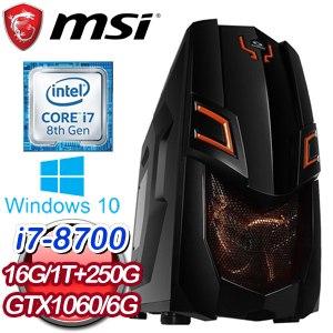 微星 電競系列【仁義之兵】i7-8700六核 GTX1060 遊戲電腦(16G/250G SSD/1TB/WIN10)
