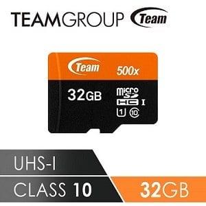 TEAM 十銓科技 500X MicroSDHC UHS-I 超高速記憶卡(附贈轉卡) 32GB