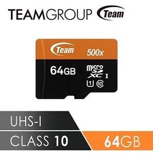 TEAM 十銓科技 500X MicroSDXC UHS-I 超高速記憶卡(附贈轉卡) 64GB