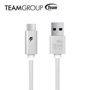 TEAM 十銓科技 USB 3.1 Gen1 TypeC充電/傳輸線-銀