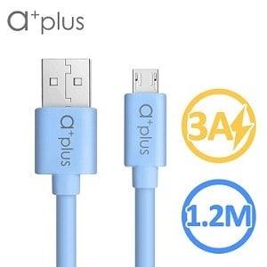 a+plus micro USB 極速3A大電流充電/傳輸線 1.2M - 藍色