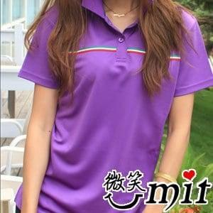 【微笑MIT】CHIAMEI 咖啡紗針織POLO杉 女款(MS-301005)(紫)(M/L/XL/2XL)