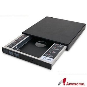 【Awesome】筆電升級專家 9.5mm硬碟(SATA)托盤模組+外接盒套件-AWD-1S1B