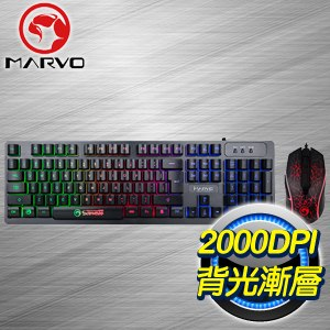 MARVO 瘋蠍 KM408 LED 多彩背光電競鍵鼠組