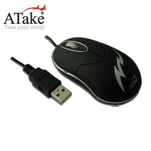 【ATake】AMQ-100ABK迷你有線光學滑鼠-黑
