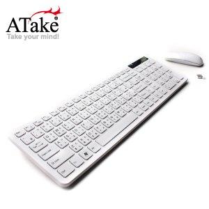 【ATake】2.4G巧克力觸控鍵鼠組-白