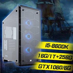 華碩 GAMER【海上霸主】Intel i5-8600K六核心 GTX1060 海盜電競機