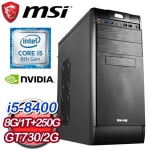 微星 電玩系列【審判天使I】i5-8400六核 N730K 娛樂電腦(8G/250G SSD/1TB)