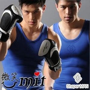 【微笑MIT】Shaper MAN 肌力機能衣 男性塑身衣背心(S/藍)