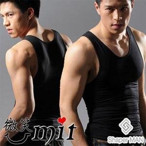 【微笑MIT】Shaper MAN 肌力機能衣 男性塑身衣背心(M/黑)