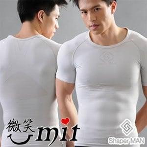 【微笑MIT】Shaper MAN 肌力機能衣 男性塑身衣短袖(XL/灰)