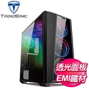 TrendSonic 翰欣【莫托斯 RA08A】透側 ATX電腦機殼《黑》
