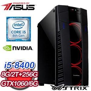 華碩 電玩系列【音速劍】i5-8400六核 GTX1060 娛樂電腦(8G/256G SSD/2TB)