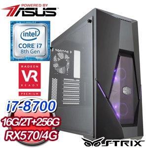 華碩 電競系列【行動密令】i7-8700六核 RX570 遊戲電腦(16G/256G SSD/2TB)