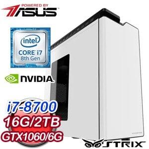 華碩 電競系列【破風連斬】i7-8700六核 GTX1060 遊戲電腦(16G/2TB)