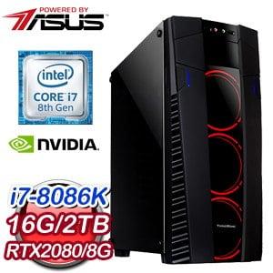 華碩 電競系列【裂滅颶風】i7-8086K六核 RTX2080 超頻電腦(16G/2TB)