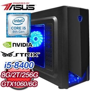 華碩 電玩系列【王者盾擊】i5-8400六核 GTX1060 娛樂電腦(8G/256G SSD/2TB)