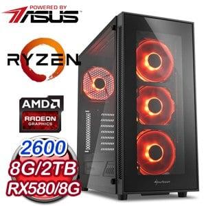 華碩 電玩系列【重返戰場】AMD R5 2600六核 RX580 娛樂電腦(8G/2TB)
