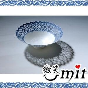 存仁堂藝瓷-菊瓣青花鏤空薄胎碗(17cm)