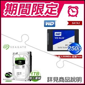 ☆雙11安可檔★ WD 藍標 250G 2.5吋SSD+希捷 新梭魚 1TB 3.5吋硬碟