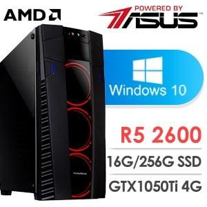 華碩 電玩系列【布丁奶茶】AMD R5 2600六核 GTX1050TI 遊戲電腦(16G/256G SSD/Win 10)