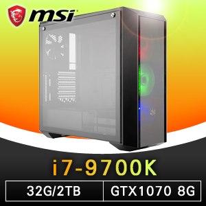 微星 電競系列【紫禁之巔】i7-9700K八核 GTX1070 超頻電腦(32G記憶體/2T硬碟)