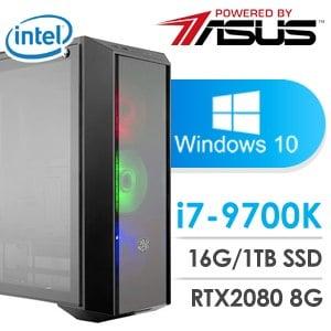 華碩 電競系列【三國戰神】i7-9700K八核 RTX2080 超頻電腦(16G記憶體/1T SSD/WIN 10)