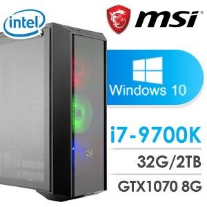 微星 電競系列【單取帥首】i7-9700K八核 GTX1070 超頻電腦(32G記憶體/2T硬碟/WIN 10)