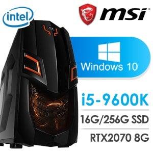 微星 電競系列【五都督】i5-9600K六核 RTX2070 超頻電腦(16G記憶體/256G SSD/WIN 10)