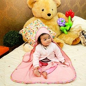 【微笑MIT】Vega 唯家 奈米遠紅外線嬰兒包巾(粉紅)85x68cm