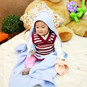 【微笑MIT】Vega 唯家 奈米遠紅外線嬰兒包巾(粉藍)85x68cm
