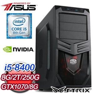 華碩 電玩系列【鬼功神力II】i5-8400六核 GTX1070 娛樂電腦(8G/250G SSD/2TB)