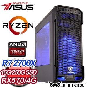 華碩 電競系列【寶藏驚魂】AMD R7 2700X八核 超頻電腦(16G/250G)