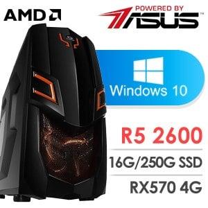 華碩 電玩系列【提拉米蘇】AMD R5 2600六核 RX570 娛樂電腦
