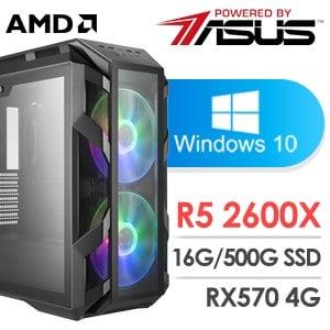 華碩 電玩系列【七品靈尊】AMD R5 2600X六核 RX570 超頻電腦(16G/500G SSD/WIN 10)