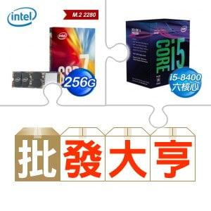 ☆批購自動送好禮★ Intel 760p 256G M.2 SSD(x10)+i5-8400處理器《彩盒全球保》(x5) ★送i3-8100處理器