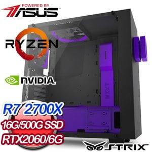 華碩 電競系列【紫龍影】AMD R7 2700X八核 RTX2060 超頻電腦(16G/500G SSD)