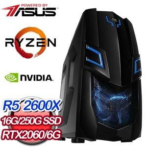 華碩 電玩系列【荒豹雷刀】AMD R5 2600X六核 RTX2060 超頻電腦