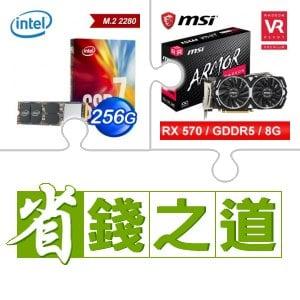 Intel 760p 256G M.2 SSD(x6)+微星RX570 8G顯示卡(電競虎)