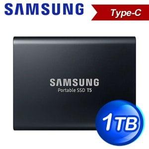 Samsung 三星 Portable SSD T5 1TB USB 3.1 外接SSD固態硬碟(540 MB/s)《炫英黑》