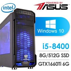 華碩 電玩系列【碼頭姑娘】i5-8400六核 GTX1660Ti 娛樂電腦(8G/512 SSD/Win 10)