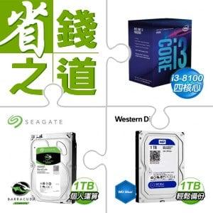 ☆自動省★ i3-8100處理器+希捷 新梭魚 1TB 3.5吋硬碟(x5)+WD 藍標 1TB 3.5吋硬碟(x5)