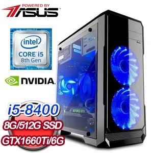 華碩 電玩系列【北歐神】i5-8400六核 GTX1660Ti 娛樂電腦(8G/512G SSD)