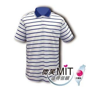 CHIAMEI 吸濕排汗紗針織POLO杉-男款(V301108/藍/條紋/M)