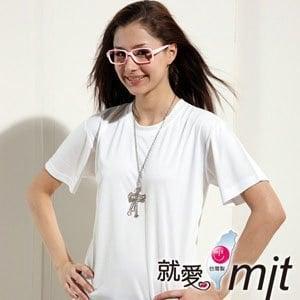 【微笑MIT】 Aiken Sport 女款短袖 經典圓領T恤 吸濕排汗衫 AK8511-L(純淨白)