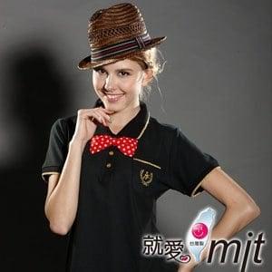 【微笑MIT】 Aiken Sport艾肯 女款短袖 精梳棉POLO衫 AK13733-M(黑)