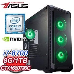 華碩 電競系列【裂蒼穹】i7-8700六核 GTX1660TI 遊戲電腦(8G/1TB)