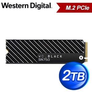 WD 威騰 SN750 2TB NVMe M.2 PCIe SSD固態硬碟(讀:3400M/寫:2900M/TLC/散熱片)《黑標》WDS200T3XHC