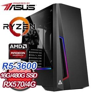華碩 電玩系列【祝融劍法】AMD R5 3600六核 RX570 娛樂電腦(16G/480G SSD)