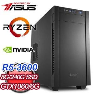 華碩 電玩系列【降魔禪杖】AMD R5 3600六核 GTX1060 娛樂電腦(8G/240G SSD)